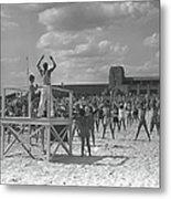 Group Of People Exercising On Beach, B&w Metal Print
