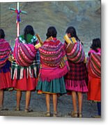 Group Of Peruvian Woman In Colorful Metal Print