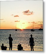 Group Of Young Friends On Beach At Metal Print
