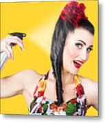 Haircare. Brunette Pinup Woman Using Hair Product Metal Print