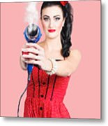 Hairdresser Woman Shooting A Cool Haircut In Style Metal Print