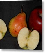 Half An Apple On Black Metal Print
