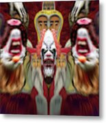 Halloween Scary Clown Heads Mirrored Metal Print