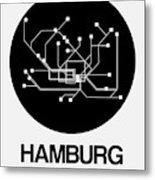 Hamburg Black Subway Map Metal Print