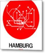 Hamburg Red Subway Map Metal Print