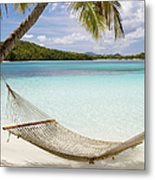 Hammock Hung On Palm Trees On A Metal Print