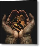 Hands Holding Coins Against Black Metal Print