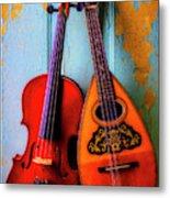 Hanging Violin And Mandolin Metal Print