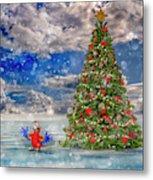 Happy Christmas Parrot Metal Print