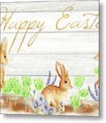 Happy Easter Bunnies (rectangle) Metal Print