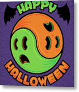 Happy Halloween Ghost Yin-yang Metal Print