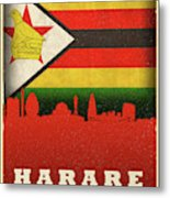 Harare Zimbabwe World City Flag Skyline Metal Print