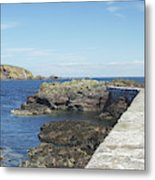 harbour wall and cliffs at St. Abbs, Berwickshire Metal Print