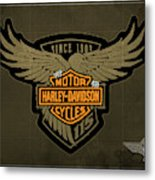 Harley Davidson Old Vintage Logo Fuel Tank Motorcycle Brown Background Metal Print
