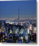 Hazy Skyline With Tokyo Sky Tree Metal Print
