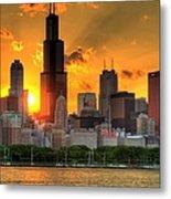 Hdr Chicago Skyline Sunset Metal Print
