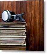 Headphones Laying On Stack Of Vinyl Metal Print