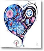 Heart Racing A Mad Shredder Biking Cycling Painting By Megan Duncanson Metal Print