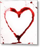 Heart Shape From Splaches And Blobs Metal Print