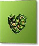 Heart Shaped Broccoli On Green Metal Print