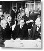 Herbert Hoover Meeting With French Metal Print