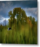 Heron Flying Abstract #h9 Metal Print