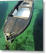 High Angle View Of Boat Moored On Sea Metal Print