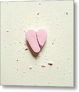 High Angle View Of Broken Heart Shape Metal Print