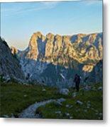 Hiker In The Morning Metal Print