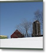 Hill Farm In Snow Metal Print