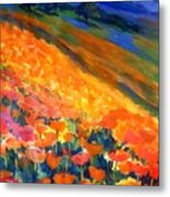 Hillside Poppy Burst Metal Print