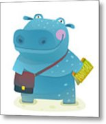 Hippopotamus Kid Student With Book And Metal Print