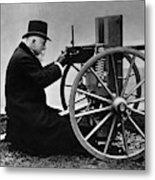 Hiram Maxim Firing His Maxim Machine Gun - 1884 Metal Print