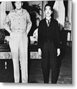 Hirohito And Macarthur Meet Metal Print