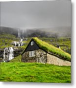 Historic Stone House With Turf Roof On Metal Print