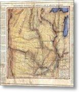 Historical Map Hand Painted Arkansaws Territory Metal Print