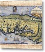Historical Map Hand Painted Drake Virginia Metal Print