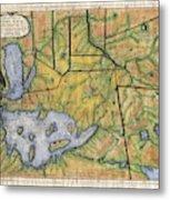 Historical Map Hand Painted Lake Superior Norhern Minnesota Boundary Waters Captain Carver Metal Print