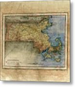 Historical Map Hand Painted Massachussets Metal Print
