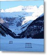Hockey Net On Frozen Lake Metal Print