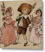 Hollyhocks, Victorian Card Metal Print