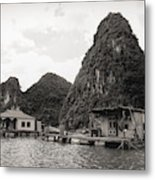 Homes On Ha Long Bay Boat People  Metal Print