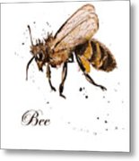 Honey Bee Watercolor Isolation Metal Print