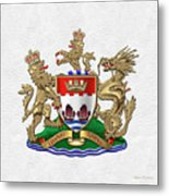 Hong Kong - 1959-1997 Coat Of Arms Over White Leather  Metal Print