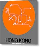 Hong Kong Orange Subway Map Metal Print