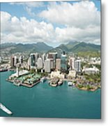 Honolulu Skyline Shot From A Helicopter Metal Print
