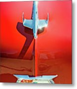 Hood Ornament On A Red 55 Chevy Metal Print