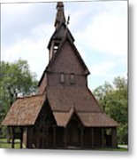 Hopperstad Stave Church Replica Metal Print
