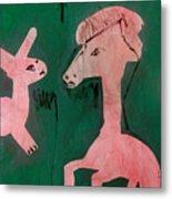 Horse And A Rabbit Metal Print