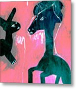 Horse And Rabbit On Pink Metal Print